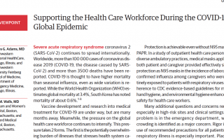Supporting the health care workforce during the COVID-19 Global Epidemic